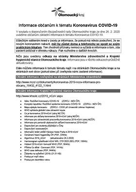 Informace ke koronaviru COVID-19